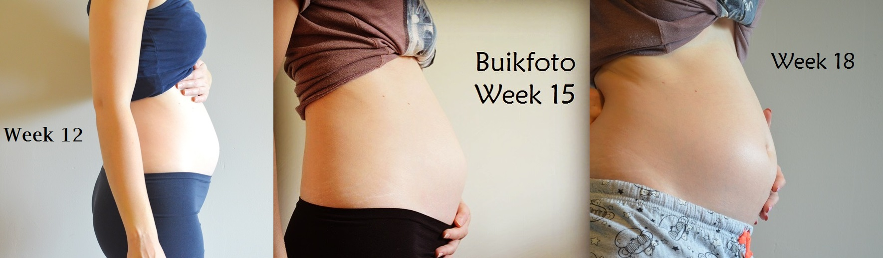 Evolutie Buik Elisejoanne.nl Week 12 tot en met 18 - De Evolutie van mijn Zwangere Buik van Week 4 - Week 37