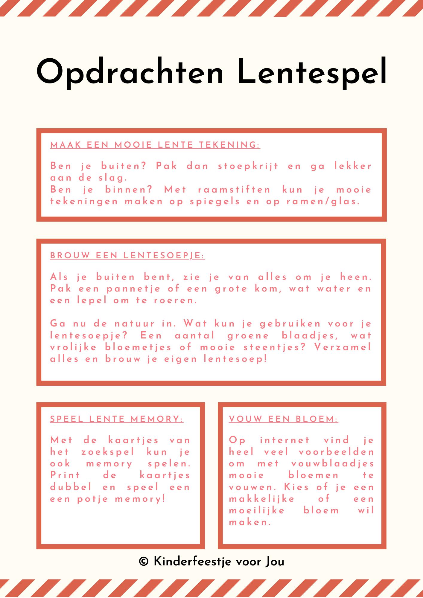 Opdrachten Lentespel - Speel het lentespel met je peuter of kleuter! (met gratis download)